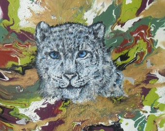 Snow Leopard. Painting on canvas.