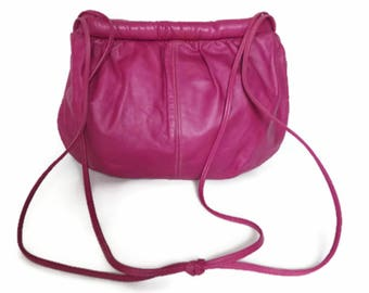 80's hot pink leather purse bag