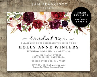 Bridal Tea Invitation, Bridal Shower Invitation, Printable Invite, Editable PDF Template - INSTANT Download - Holly Collection