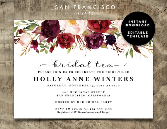 Bridal Tea Invitation Bridal Shower Invitation Printable Invite