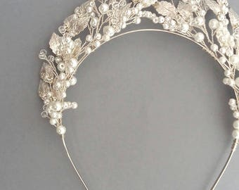 Silver Tiara, Silver Crown, Silver Wedding Tiara, Silver Bridal Tiara, Pearl Tiara,
