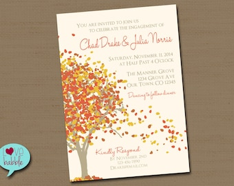 Fall Autumn Engagement Party, Couple's Bridal shower, Fall Wedding Autumn Harvest Thanksgiving Invitation - PRINTABLE DIGITAL FILE - 5x7