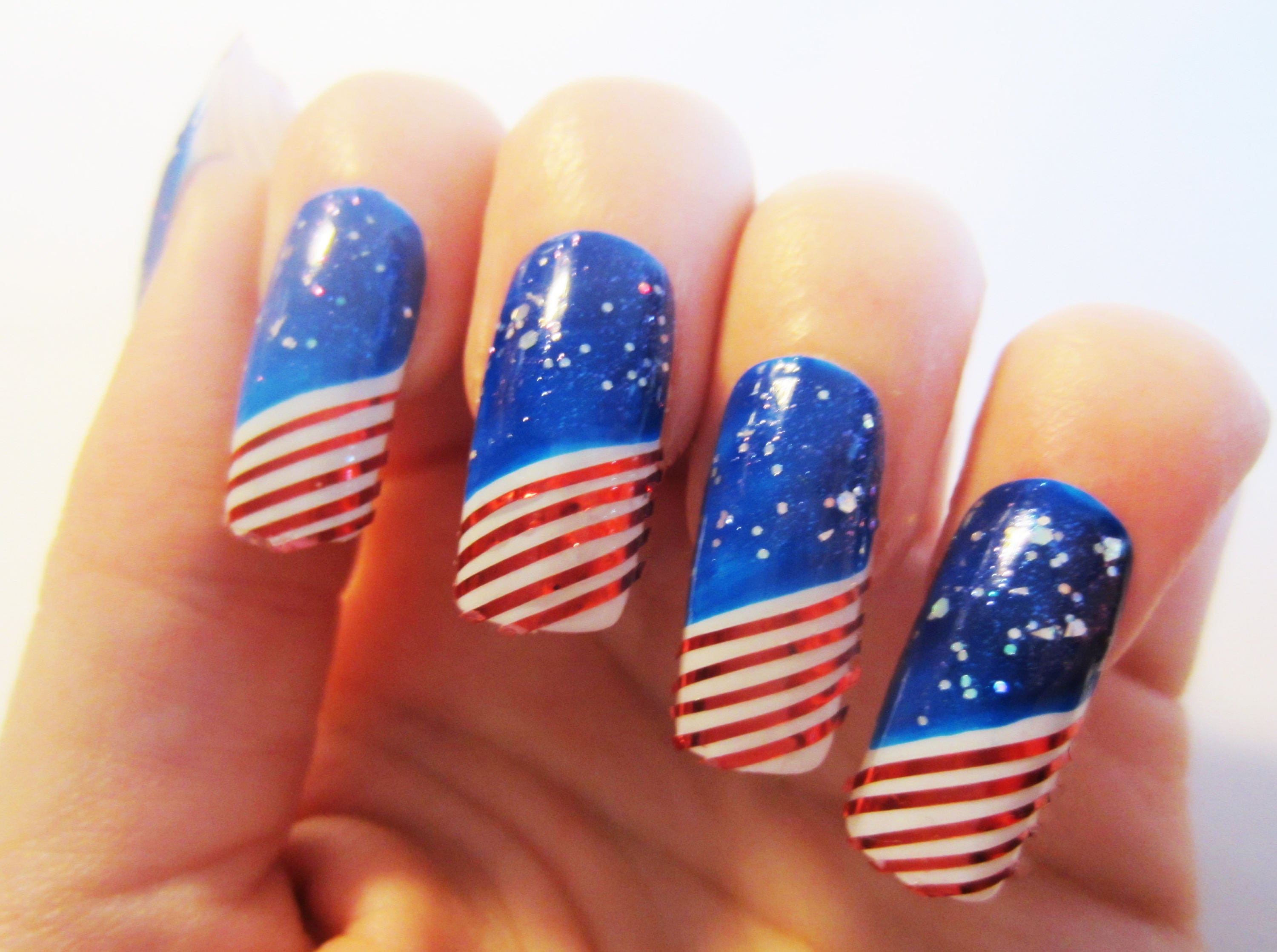 USA Flag SuperBowl False Nails Set of 20 Fabulous Glitter