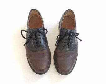 Vintage Mens 10.5 Rockport Saddle Shoes Oxfords Lace Up Dress Shoes Classic  Derby Shoe Hipster Preppy
