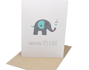 Baby Boy Card | Grey and Blue Elephant with Hearts - BBYBOY038 / Congratulations It's a Boy Card