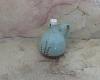 SALE - Mini Cruet Pourer - Handmade Stoneware Ceramic Pottery - Turquoise - Willow - 14 ounce