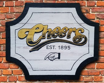 Handmade Cheers Bar Sign, Cheers Boston, Rustic Bar Sign, Man Cave Decor, Bar Sign, Cheers TV Show Sign, Reclaimed Wood Bar Sign