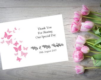 Personalised Wedding Thank You Cards with Matching Envelopes Pack Of 10 TY66