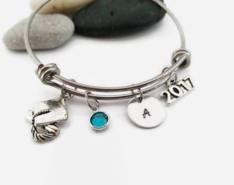 2017 Graduation bracelet, 2017 graduation bangle,  Graduation gift jewelry, Graduation cap with diploma,  Graduation bracelet, gift for grad