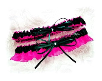 Weddings bridal accessories hot pink and black garter set. Keepsake and Toss bridal garters