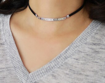 Name Choker Necklace Roman Numeral Bar Black Choker Necklace Personalized Suede Cord Choker Silver Bar Choker Black Suede Cord Choker