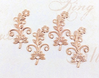 Rose Gold Flower, Brass Flower, Brass Leaf, Brass Stamping, Earring Drop, Right Facing, 38mm x 22mm - 4 pcs. (rg329)