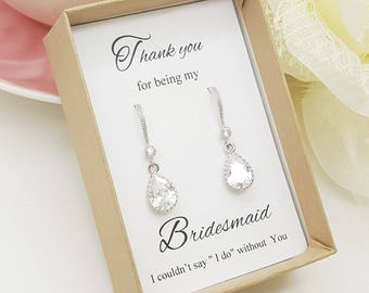 Teardrop Crystal Bridesmaid Earrings,Bridesmaid Gift, Bridesmaid Earrings Gift