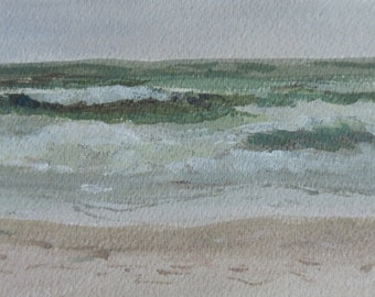 Original Framed Watercolor Painting Plein Air Stone Harbor NJ New Jersey Sea Greens Waves Shoreline Ocean Art Beach Art coastal painting