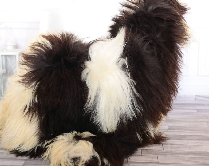 Sheepskin Rug | Real Sheepskin Rug | Shaggy Rug | Scandinavian Rug | | SCANDINAVIAN DECOR | Brown Sheepskin  #JANHER119
