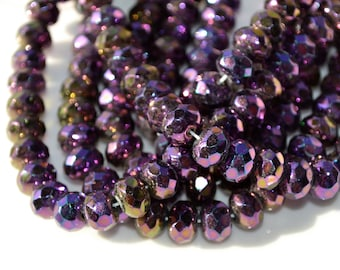 PUrple Iris 9x6mm Faceted Rondelle Beads   25