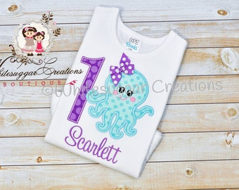 Baby Girl 1st Birthday Shirt - Custom Octopus Birthday Shirt - Aqua and Purple Octopus Birthday Outfit - First Birthday Shirt - 1 year old
