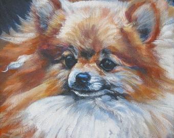 pomeranian dog art portrait CANVAS print of LA Shepard painting 12x12