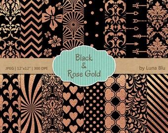 """Black and Rose Gold Digital Paper: """"Black and Rose Gold Foil Patterns"""" black and rose gold scrapbook paper, rose gold foil"""
