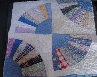 Vintage Fabric Quilt Squares/ Remnants/Antique Quilt/ Patchwork/Pillow/Wall Hanging/Fan Pattern/Patchwork Quilt/4 Quilt Squares  SALE