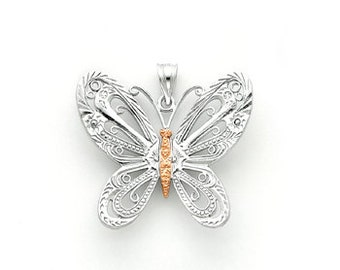 14k white and rose gold butterfly pendant.