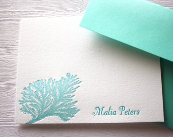 Personalized Letterpress Stationery Ocean Coral Blue