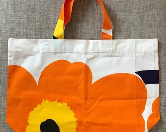 Vintage Marimekko Cotton Tote Bag / 1990 Finland / Black grey white Unikko flower