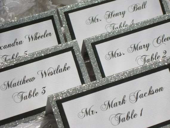 & Silver Glitter Tented Place Cards Escort cards Name Cards