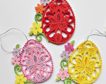 Quilled Easter egg-quilled egg-ornament house-spring decor-Happy Easter-Easter card