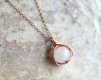 Rose Gold Necklace, Rose Quartz Necklace in Silver/Gold, Rose Gold Jewelry, Bridesmaids Gifts, Birthday Gift, Wedding Jewelry, Mother Gift