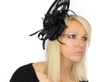 Cape - Black Fascinator Hat for Weddings, Races, and Special Events With Headband