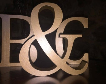 Metallic Gold Wooden Letters and Numbers - Free-standing - Painted, 8cm & Sign, Letters, Gold Letters