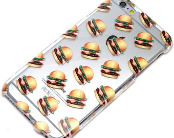 Last One, 2 Piece Case, Hamburger Pattern, Food,iphone Case, Transparent, Clear Phone Case, fits iphone 6 or iPhone 6s Only, Last Two Piece