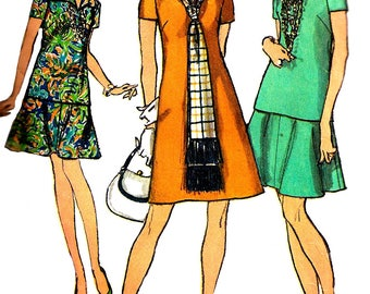 1970s Skirt Pattern Overblouse Scarf Back Zip V Neck Simplicity Vintage Sewing Women's Misses Size 14 Bust 36 Inches