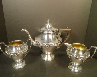 Vintage Art Nouveau Benedict Silverplate Grapevine Teapot with Cream & Sugar Set  (FREE SHIPPING)