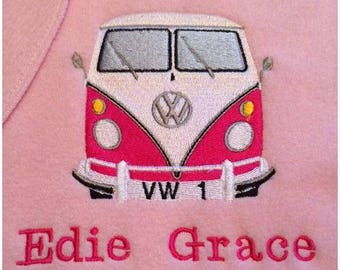 Personalised Embroidered Blankets VW Campervan Splitscreen Splitty