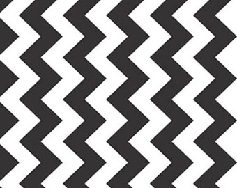 Riley Blake Designs Medium Chevron Black MC320-110 One Yard