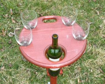 Wine Table - Outdoor Wine Table - Outdoor Wine Holder - Picnic Wine Table - Fold Wine Table - Folding Wine Table