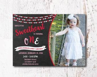 Heart Birthday Invitation - Valentine Invitation, Sweetheart Birthday Invitation for your Valentine Birthday Party
