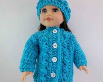 18 inch Doll Clothes  Turquoise Bulky Cardigan & Slouch Hat Fits American Girl Doll  Toys