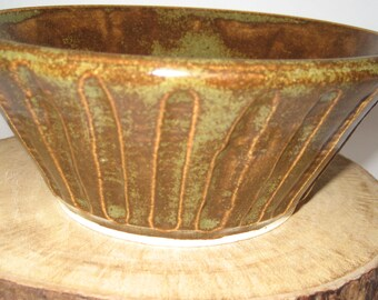 Wheel Thrown Pottery Fluted Serving Bowl