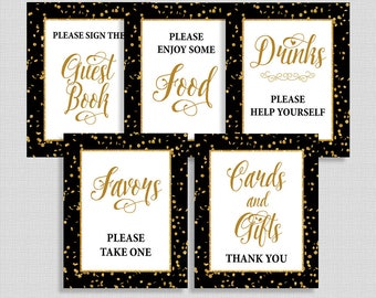 Black & Gold Shower Table Signs Package, Black and Gold Glitter Confetti, 5 Sign Bundle, INSTANT PRINTABLE