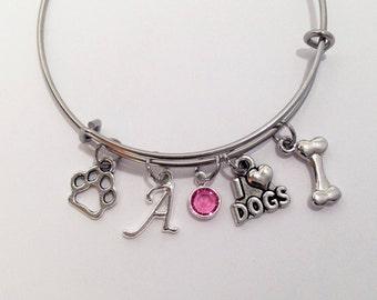 Dog Bracelet Personalized, Dog Jewelry, I Love Dogs Bangle, Dog Mom, Dog Lover, Dog Lover Gift, Dog Owner Gift, Dog Owner Jewelry, Pet Lover