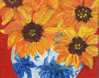 Original painting - Sunflowers  in blue and white oriental vase painting 4 x 6 original on stretched canvas
