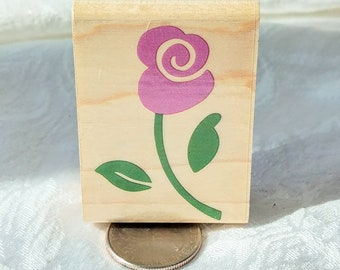 Whimsical Rose Stem Rubber stamp by Rubber stampede, Country Rose Background stamp, Country Rose Stamp Swirl Art Journal Craft Destash