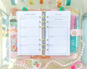 WEEKLY PLANNER Personal Size (3.7 x 6.7 inches). Week on 2 Pages Printable pdf DIY. Filofax Medium organizer inserts. Instant Download.
