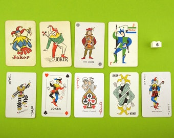 Vintage Joker playing cards. 9 Joker card collection, clowns, jesters, colour illustration, Man cave decor, Bar decoration, Games room