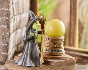 Miniature Garden - Wizard of Oz - Wicked Witch and LED Light Crystal Ball - Miniature Fairy Garden Supplies