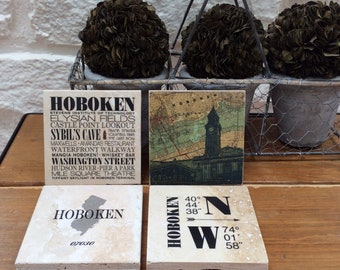 Hoboken NJ Tumbled Marble Coasters, Set of 4, can be customized and personalized: other cities available