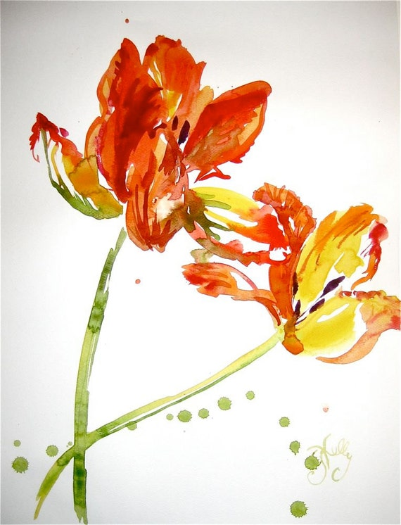 Watercolor flower painting-Orange Parrot Tulips- original by Gretchen Kelly